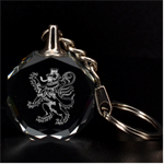 Engraved Lion with Crown Rampant Key Chain - 3D Engraving Circle Key Chain