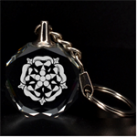 Engraved Tudor Rose Key Chain - 3D Engraving Circle Key Chain