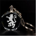 Engraved Lion Rampant Key Chain - 3D Engraving Circle Key Chain
