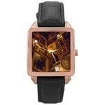 hogwarts portraits - Rose Gold Leather Watch