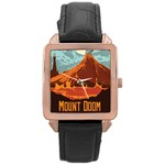 mount doom - Rose Gold Leather Watch