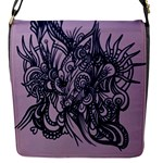 Lilac abstract bag - Removable Flap Cover (S)
