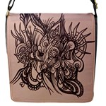 Peach abstract bag - Flap Closure Messenger Bag (S)