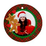 Christmas Cookies - Gingerbread Man - Holiday ornament - Ornament (Round)