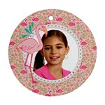 Flamingo Christmas Holiday-ornament (round)