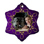 Jane Purple and Gold Snowflake  Ornament (2 sided) - Snowflake Ornament (Two Sides)