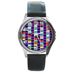 Musical Colors Blue - Round Metal Watch