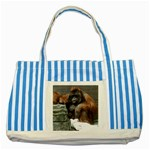 Orangutan canvas bag - Striped Blue Tote Bag