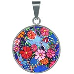 Waterflowers - 25mm Round Necklace