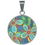 Blue Floral - 25mm Round Necklace