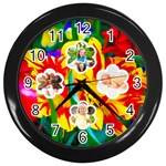 summer flower clock - Wall Clock (Black)