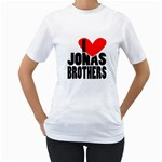 I LOVE JONAS BROTHERS - two sides - Women s T-Shirt (White) (Two Sided)
