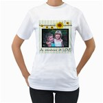 sunflower shirt - Women s T-Shirt (White) (Two Sided)