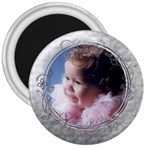 Button Design Silver  - 3  Magnet