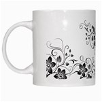 Coffee Mug-Black flower pattern - White Mug