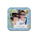 i love you coaster - Rubber Coaster (Square)