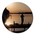 Fishin in the evening sun - Round Mousepad