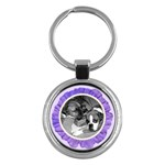 Purple Flower & Pearls Keychain - Key Chain (Round)