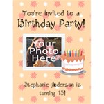 Peach Birthday Party Invitations - Greeting Card 4.5  x 6