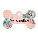 Pink Floral Dog Tag - Dog Tag Bone (Two Sides)