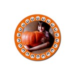 Halloween orange - Rubber square coaster - Rubber Coaster (Round)