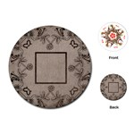 art nouveau mocha round playing cards - Playing Cards (Round)