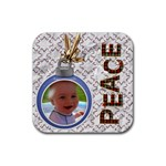 Peace Christmas Coaster - Rubber Coaster (Square)