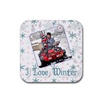 i love winter coaster - Rubber Coaster (Square)