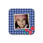 Blue squares coaster - Rubber Coaster (Square)