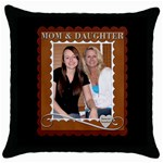 Mom & Daughter Pillow - Throw Pillow Case (Black)