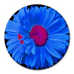 Blue Painted Daisy Mouse Pad - Round Mousepad