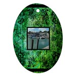 art nouveau deep green oval ornament - Oval Ornament (Two Sides)