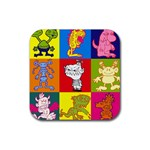Monster party - Rubber coaster - Rubber Coaster (Square)