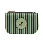 Red & Blue Stripes Monogram Mini Coin Purse