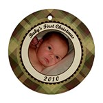 Baby s First Christmas Plaid Ornament - Ornament (Round)
