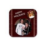 Happy Holidays Christmas Coaster - Rubber Coaster (Square)