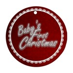 Baby s First ChristmasTraditional claret & white round ornament - Round Ornament (Two Sides)
