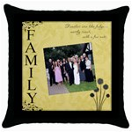 Family Throw Cushion #2 - Throw Pillow Case (Black)