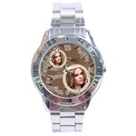 stainless analogue army fatigue 2 twin frame  desert camo watch - Stainless Steel Analogue Watch