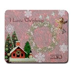 I love Christmas pink remember when large mousepad