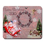I love Christmas santa sleigh pink remember when large mousepad