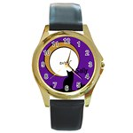 Cats on the roof - Watch - Round Gold Metal Watch