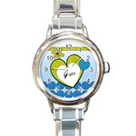 Flowers and hearts - Watch - Round Italian Charm Watch