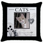Cats can Steal Your Heart Throw Pillow Case - Throw Pillow Case (Black)