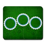 Green Flowers - Large Mousepad