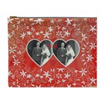 Floral Twin Hearts Valentines Extra Large cosmetic bag - Cosmetic Bag (XL)