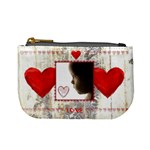love hearts weathered floral wood mini coin purse mini coin purse