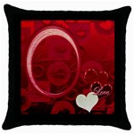 I Heart You 22 Red Throw Pillow Case 18 inch - Throw Pillow Case (Black)