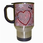 Old Fashioned Christmas Mug angels Remember When heart star snowflakes pink - Travel Mug (White)