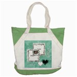 Aqua blue Frilly frame Custom Accent Tote Bag